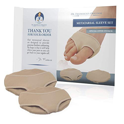 Dr. Frederick's Original Gel Pad Metatarsal Sleeves - 2 Pieces Metatarsal Pads for Forefoot Pain - Metatarsalgia, Morton's Neuroma, Plantar Warts, Corns and Sesamoiditis - Large | M9.5-11