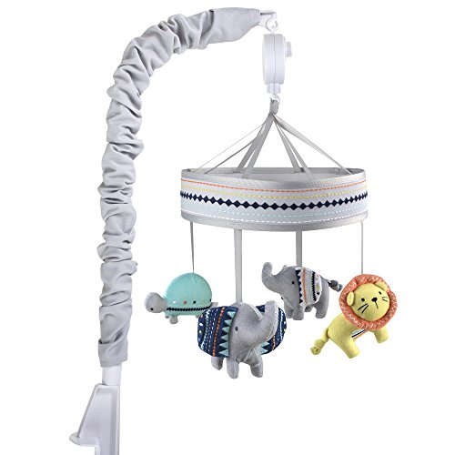 - Wendy Bellissimo Baby Mobile Crib Mobile Musical Mobile - Elephant Mobile from The Sawyer Collection in Grey and Turquoise
