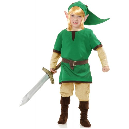 Kids Link Costumes (Charades Child's Elf Warrior Costume, Green, Medium)