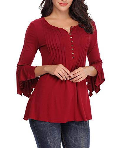MISS MOLY Women's Bell Sleeve Blouse Button Decor Pleated Round Neck Lace Inset 3/4 Sleeve Henley Shirts