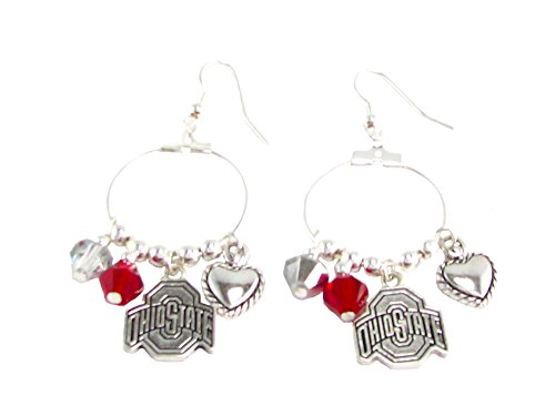 Ohio State Buckeyes Red Austrian Crystal Heart Logo Charms Hoop Earrings OSU