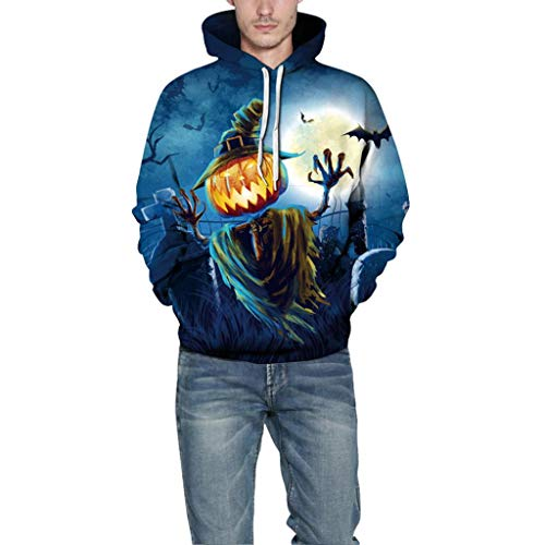 Hot Sale,Mens Halloween Costumes WUAI 3D Printed Pumpkin Lantern Skull Slim Fit Hoodies Sweatshirt(Blue,Size XXL/XXXL) ()