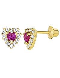 18k Gold Plated Hot Pink Fuchsia Clear Crystal Heart Baby Girl Screwback Earrings