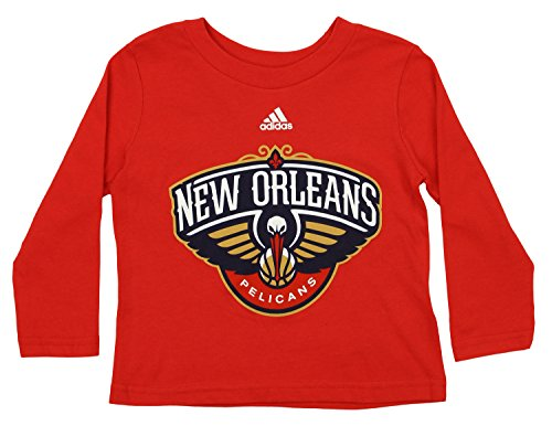 (adidas NBA Toddler's New Orleans Pelicans long Sleeve Primary Logo Tee, Red 4T)