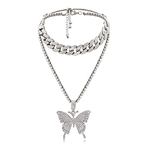 Best Epic Trends 41jjvbW907L._SS300_ Cuban Link Butterfly Pendant Necklace - Women's Hip Hop Iced Out Choker Chain with Bling Rhinestones, Fashion Accessory…