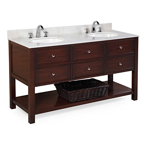 Kitchen Bath Collection KBCD60BRWT New Yorker Double Sink Bathroom Vanity with Marble Countertop, Cabinet with Soft Close Function and Undermount Ceramic Sink, White/Chocolate, 60