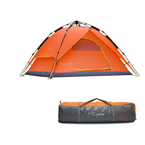 HollyHOME 3-4 Person Pop Up Backpacing Camping Tent with Carrying Bag, Double Layer, 2 Doors, 3 Seasons, Lightweight and Water Resistant, Orange