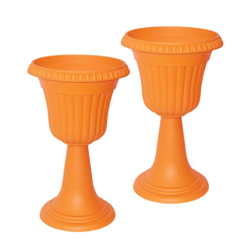 ALEKO Tall Orange Plastic Garden Flower Plant Azura Urn Planter, Lot of 2 by ALEKO