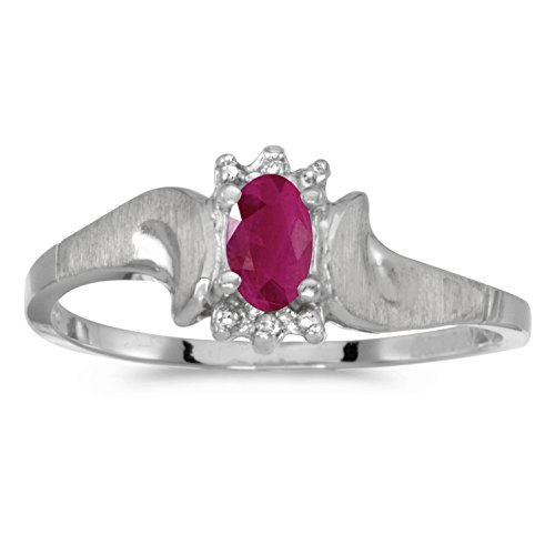 10k White Gold 5x3mm Oval Ruby And Diamond Satin Finish Ring. Size (Satin Jewel Collection Ruby)