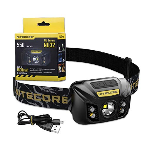 Nitecore NU32 Head Torch – USB Rechargeable – LED Super Bright 550 Lumens With Red Light IP67