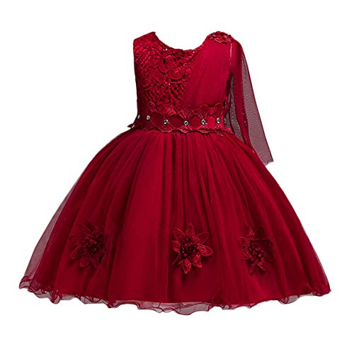 ❤️ Mealeaf ❤️ Kids Flowers Girl Princess Bridesmaid Pageant Gown Lace Appliques Birthday Party Wedding Dress 2-8Years Wine Red -