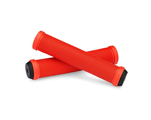 25NINE Ronin Grip Without Flange - Flangeless BMX Bike and Scooter Handlebar Grips with End Plugs - Red