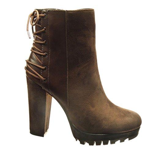 5e943af8568b5 Angkorly damen Schuhe Stiefeletten biMaterial Plateauschuhe Hohe ...
