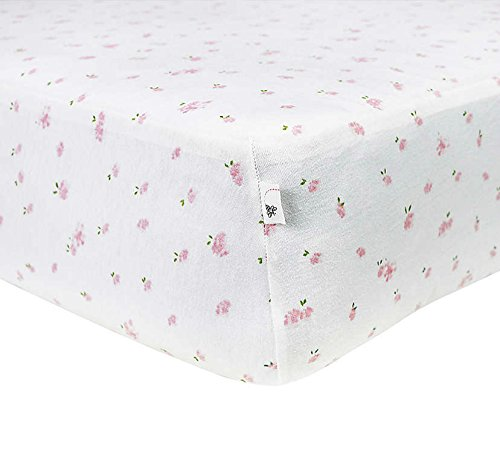 Burt's Bees Baby - Fitted Crib Sheet, Butterfly Garden, 100% Organic Cotton Crib Sheet for Standard Crib and Toddler Mattresses (Blossom)
