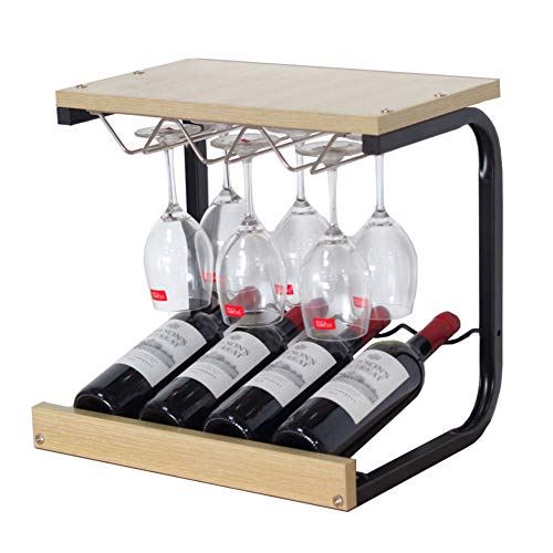 Dining Room Maple Cupboard - Countertop 4 Bottles Wine Display Rack Free Standing 6 Glass Hanger Stand Wooden Interior Decorations (Color : Maple Wood Color)