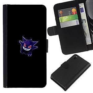 YiPhone /// Tirón de la caja Cartera de cuero con ranuras para tarjetas - Gengar Pokemon - Sony Xperia Z3 D6603