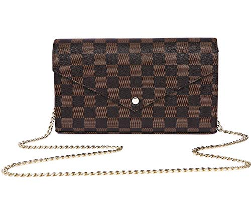 Miracle Checkered Cross Body Bag | Wallet Clutch with Credit Card Slots | Evening Purse - PU Vegan Leather (Brown)