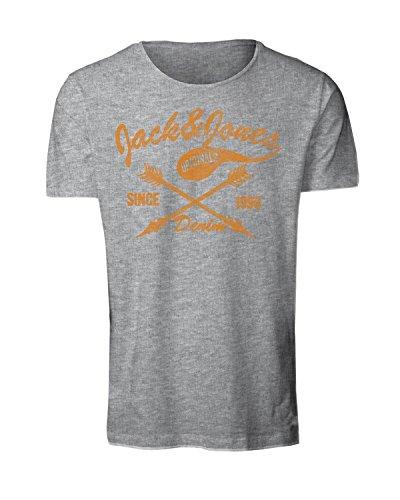 Jack & Jones Herren T-Shirt JorFiber Tee Crew Neck 12115883 kurzarm grau