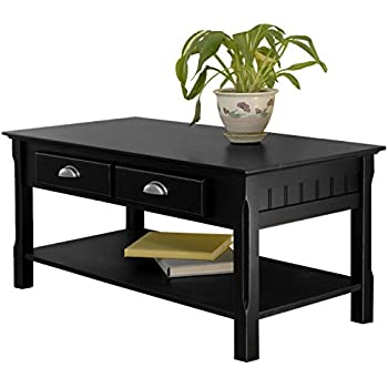 Amazoncom Coffee Table With Drawer And Shelf In Black Kitchen - Coffee table with drawers and shelf