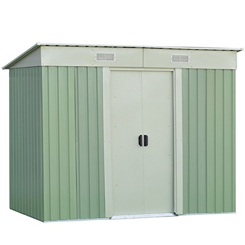 Goplus Galvanized Steel Outdoor Garden Storage Shed 4 x 8 Ft Heavy Duty Tool House W/ Sliding Door (Green) by Goplus