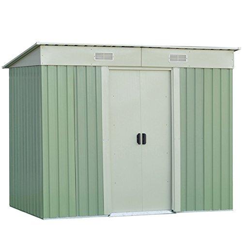 Goplus Galvanized Steel Outdoor Garden Storage Shed 4 x 8 Ft