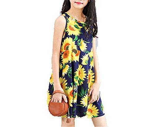 Doris Batchelor Elegant Girl Floral Dress Girl Cute Sleeveless A-Line Dresses for Kid Cotton O-Neck Dresses Summer Blue 12 -
