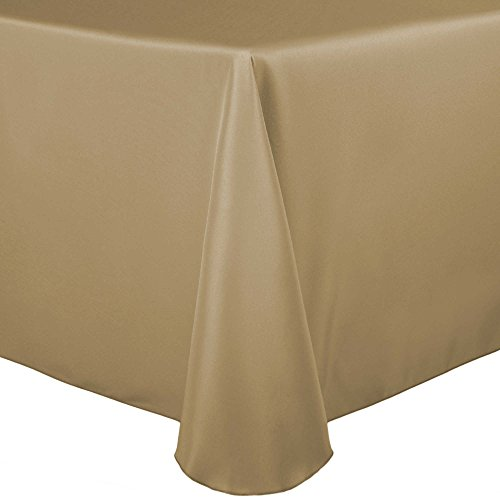 Ultimate Textile 60 x 84-Inch Oval Polyester Linen Tablecloth Camel Light Brown ()
