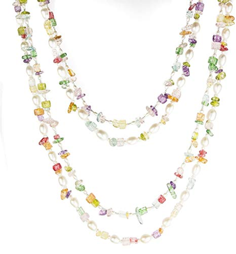 HinsonGayle 'Mardi Gras' 2-Strand Freshwater Cultured Pearl & Multi-Color Stone Necklace & Earrings-40 in - Round 3 40 Ring Stone