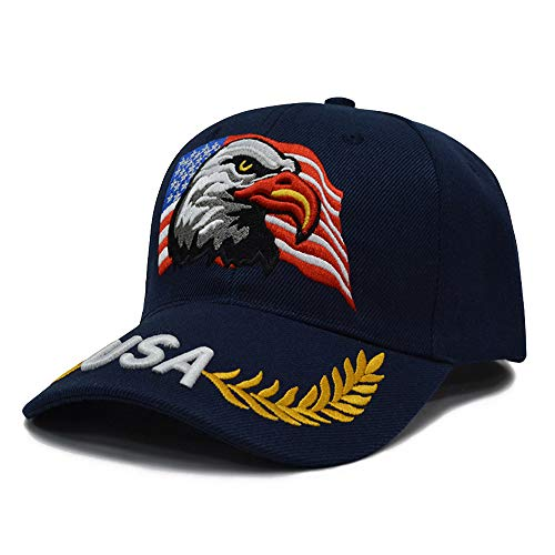 3D Embroidery Dad Hat Patriotic Eagle American Flag Adjustable Baseball Cap USA (Navy Blue)