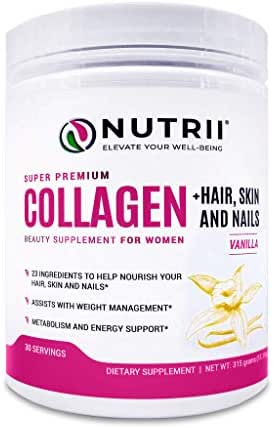 Nutrii #1 Collagen Grass Fed Hydrolyzed Peptides + Hair, Skin and Nails, 23 Ingredients to Boost Results, Zero Carbs/Zero Sugar, Delicious Drink Mix Supplement, Energy, Lean Muscle (14.8 oz, 30 serv)