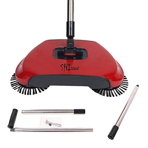3 in 1 Household Lazy Automatic Hand Push Sweeper Broom 360 Degree Rotating Cleaning Machine Sweeping Tool Without Electricity Dustpan Trash Bin (Red) by SHINENGkeji (Image #4)