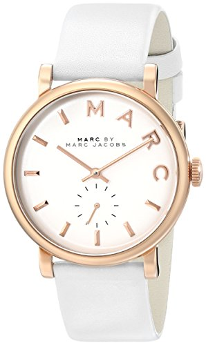 Women's MBM1283 Baker Rose-Tone Stainless Steel Watch with White Leather Band ()
