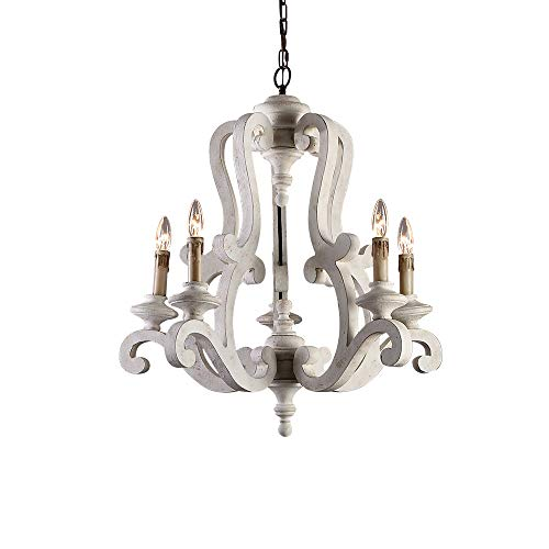 Lovedima Cottage Style Distressed Wood 5-Light Candelabra Chandelier with Scrolled Arms & Rust Canopy (Distressed White)