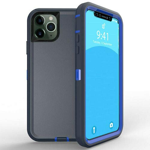 iPhone 11 Pro Case, Heavy Duty Shockproof Armor Defender Drop Proof 3in1 Rugged Full-Body Protective Case Cover (Blue…