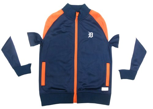 MLB Detroit Tigers Girl's Mock Neck Track Jacket, Navy, Small