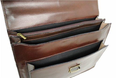 LEATHERWORLD Damen Herren Echt-Leder Tasche Aktentasche Arbeitstasche Notebooktasche Laptoptasche 15 16 17 Zoll DIN A4 Umhängetasche Dokumenten-tasche Büro aus hochwertigem Leder BLU SCURO 02803