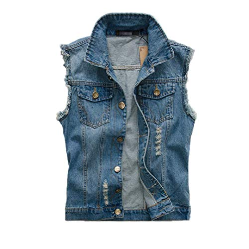 Mangas Jeans Chaqueta De Vendimia Rasgada Lavadas Chaquetas Chaleco para Hombre Chaleco para Los Casual Hombre Sin De Vaquero De Hombres Modernas La De 2 Mezclilla Nner AxqvYdqwUO