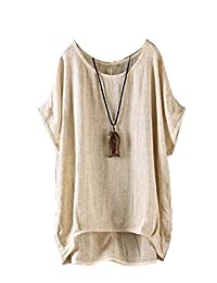 yulinge Womens Summer Casual Short Sleeve Cotton and Linen Shirt Tops Plus Size