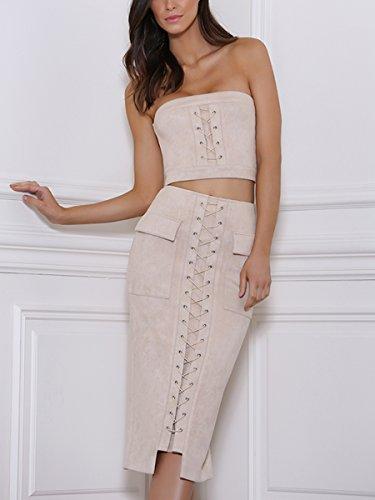 Simplee Apparel La sude cordon Off Shoulder tops y Falda Set 2 pieza encaja bodysuit Apricot