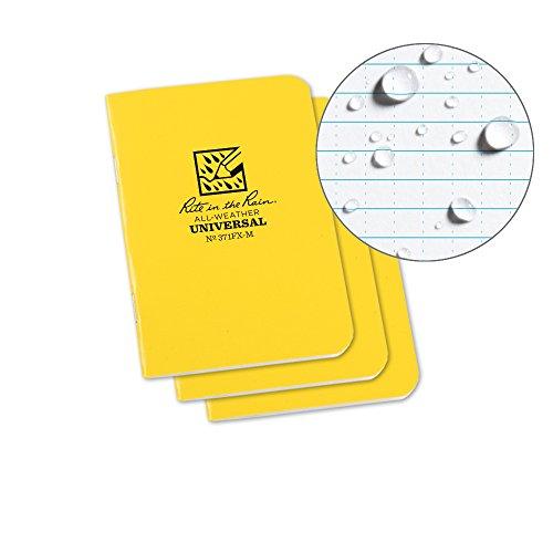 Rite in the Rain Weatherproof Mini-Stapled Notebook, 3 1/4 x 4 5/8, Yellow Cover, Universal Pattern, 3 Pack (No. 371FX-M)