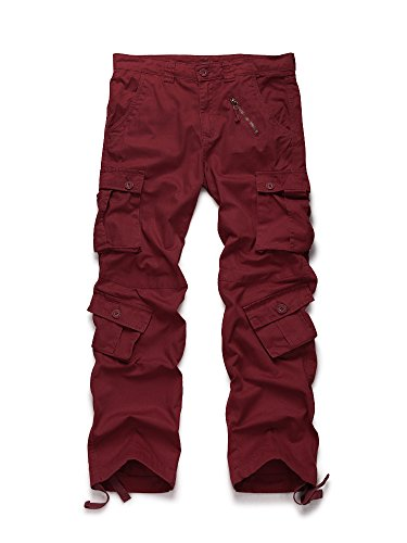 OCHENTA Men's Cotton Military Cargo Pants, 8 Pockets Casual Work Combat Trousers #3357 Wine Red 30