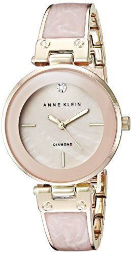 Marbled Enamel - Anne Klein Women's AK/2512LPGB Diamond-Accented Gold-Tone and Blush Pink Marbleized Bangle Watch