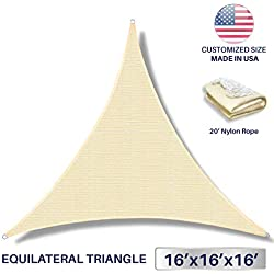Windscreen4less 16' x 16' x 16' Sun Shade Sail Canopy in Beige with Commercial Grade (3 Year Warranty) Customized