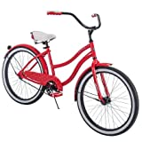 Comfortable,Stylish and Elegant Huffy 24' Cranbrook Girls' Cruiser Bike Frame That Eliminates Back,Arms and Leg Fatigue,Red,Ideal for Casual or Recreational Riders