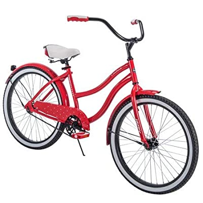 """Comfortable,Stylish and Elegant Huffy 24"""" Cranbrook Girls' Cruiser Bike Frame That Eliminates Back,Arms and Leg Fatigue,Red,Ideal"""
