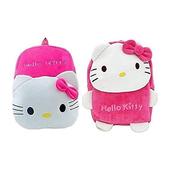 Blue Tree Kid's Plush Velvet Hello Kitty Cartoon School Bag (Rani, 3-5 Year)