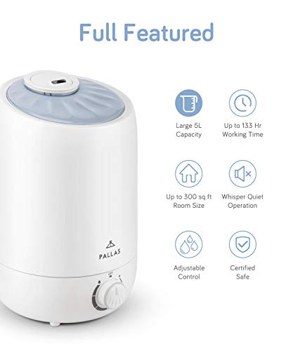 Pallas 2019 Humidifier - 5L Cool Mist Ultrasonic Humidifier for Bedroom, Baby, Home, Vaporizer for Large Room with Adjustable Mist Knob 360 Rotatable Mist Outlet by Pallas (Image #1)