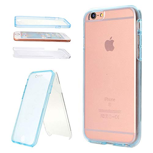 Plus Comprehensive Coverage - Aearl iPhone 6 6S Case,Ultra Thin Crystal Clear 2 Piece TPU 360 Degree Full Body Coverage Protection Shock Absorbing Protective Bumper Cover with Built in Screen Protector for Apple iPhone 6S 6-Blue