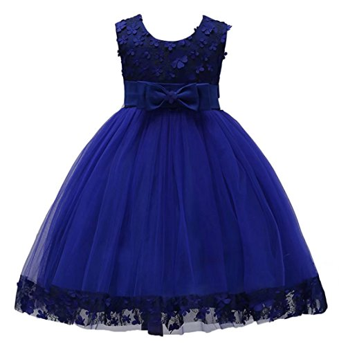 Oukaiyi Big Little Girl Ball Gown Short Lace Flower Tulle Dresses for Wedding Party Evening Dance 1-10T(Navy Blue,8-9Y)