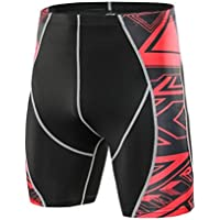 Scaling ☸ Mens Fitness Gym Shorts Printed Compression Pants Elastic Quick Dry Stretchable Shorts Training Workout Pants